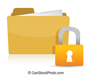 Yellow folder and lock illustration design over white