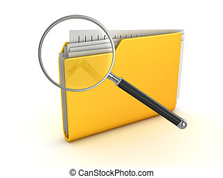 Yellow folder and magnify glass