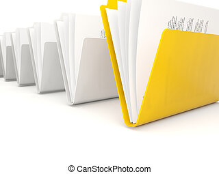 Yellow folder in a row