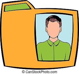 Yellow folder with male photo icon cartoon