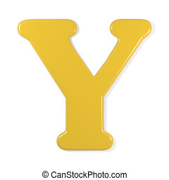 yellow font - letter y - Yellow letter ay, isolated on white...