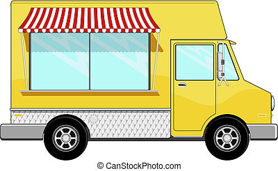 yellow food bus with awning isolated on white background,...