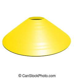 Yellow football soccer cone isolated