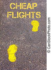 Yellow footsteps on sidewalk towards Cheap Flights message
