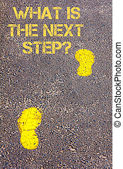 Yellow footsteps on sidewalk towards What is the next step message