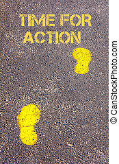 Yellow footsteps on sidewalk towards Time for Action message