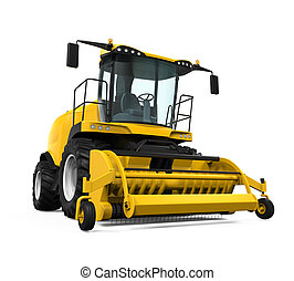 Yellow Forage Harvester isolated on white background. 3D ...