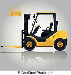Yellow fork lift loader on white. Loading coins in storage. Construction machinery and ground works.