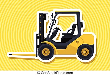 Yellow fork lift loader with outline. Loading of material. Construction machinery.
