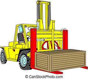 Yellow fork lift truck