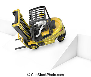 Yellow fork lift truck falling after turning on slope,...