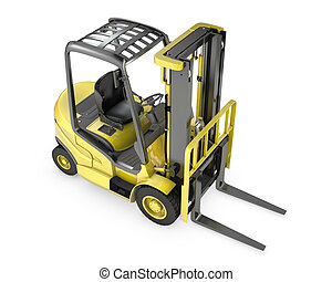 Yellow fork lift truck, top view