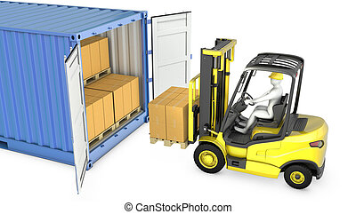 Yellow fork lift truck unloads cargo container, isolated on ...
