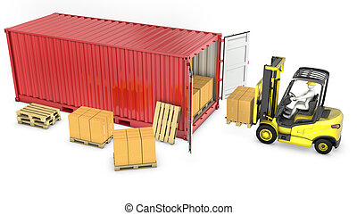 Yellow fork lift truck unloads red container, isolated on ...