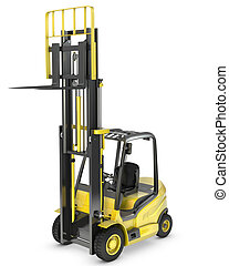 Yellow fork lift truck with raised fork