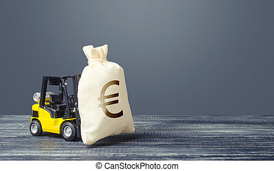 Yellow forklift carries a Euro money bag. Grants financing. Payment of taxes. Big contract, profitable deposit, take a loan. Inflation, price increases. Wealth, investments in economy. financial aid