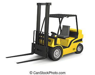 Yellow forklift - Modern yellow forklift isolated on white...