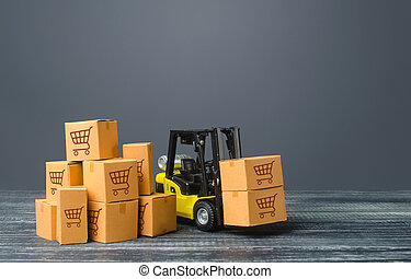 Yellow Forklift truck and boxes of goods. Transportation logistics infrastructure, import and export products delivery. Production, transport, cargo storage. Freight shipping. retail and supply