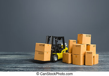 Yellow Forklift truck and cardboard boxes. Production, transport, cargo storage. Freight shipping. retail. Transportation logistics infrastructure, import and export goods and products delivery