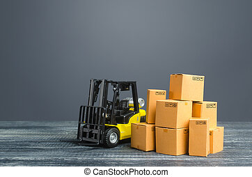 Yellow Forklift truck and cardboard boxes. Transportation logistics infrastructure, import and export goods and products delivery. Production, transport, cargo storage. Freight shipping. retail.