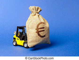 Yellow forklift truck carries a bag of euro money. Attracting investment in development, modernization of production and business. capital migration. Revenue, profit, liquidity.