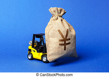Yellow forklift truck carries a bag of Yen or yuan. Attracting investment in development, modernization of production and business. capital migration. Revenue, profit, liquidity. profit fixation.
