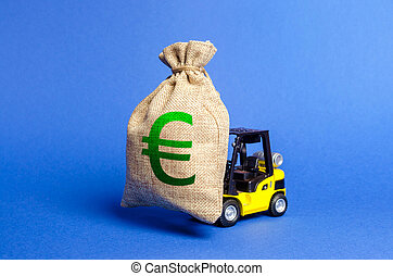 Yellow forklift truck carries a big bag of Euro money. Attracting investment in development, modernization of production and business. Revenue, profit, liquidity. profit fixation. capital migration