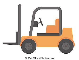Yellow forklift truck