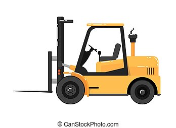 Yellow forklift truck isolated on white background vector...