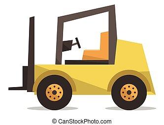 Yellow forklift truck vector illustration.
