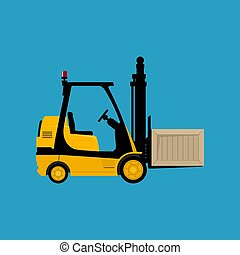 Yellow Forklift Truck with a Box