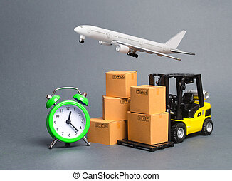 Yellow Forklift truck with cardboard boxes, a airmail plane and a alarm clock. Express delivery concept. Temporary storage, limited offer and discount. Optimization of logistics. Distribution