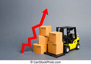Yellow Forklift truck with cardboard boxes and a red arrow up. Increasing consumer demand. growth rate of production goods and products, raise economic indicators. exports and imports. sales rise
