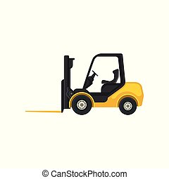 Yellow forklift truck with fork in front. Industrial vehicle using in warehouses for lifting and carrying heavy loads. Flat vector icon