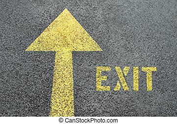 Yellow forward road sign with Exit word on the asphalt road.