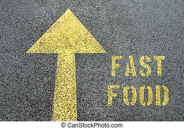 FAST FOOD word on the asphalt road.