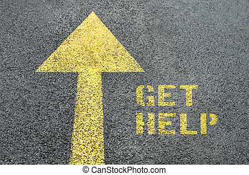 Yellow forward road sign with Get Help word on the asphalt road.