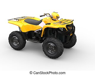 Yellow four wheeler bike