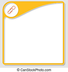 yellow frame for text with paper clip