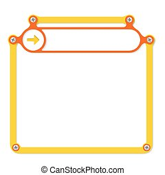 yellow frame for text with screws and red frame for headline