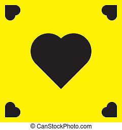Yellow frame with black hearts background