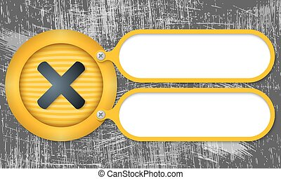 Yellow frames with multiplication symbol and scratched...