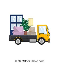 Yellow Freight Car is Transporting Furniture