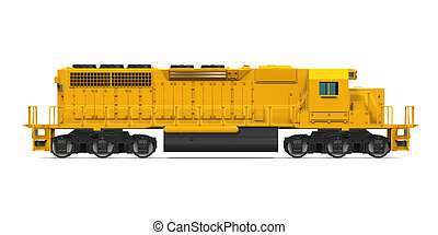 Yellow Freight Train isolated on white background. 3D render