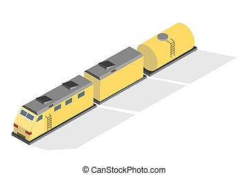 Yellow freight train on the railway. Transportation and delivery