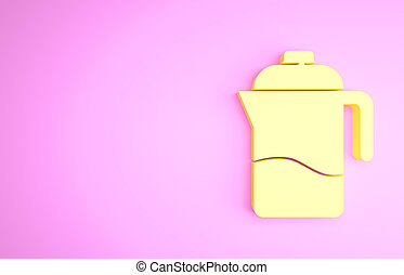 Yellow French press icon isolated on pink background. Minimalism concept. 3d illustration 3D render