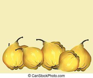 Yellow fresh quinces