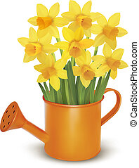 Yellow fresh spring flowers in green watering can. Vector...
