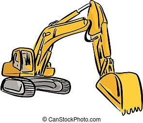 Yellow Front Hoe Loader excavator vector illustration sketch hand drawn with black lines isolated on white background