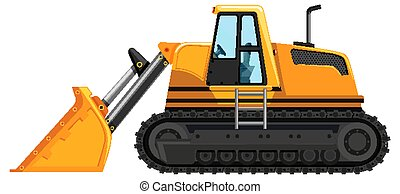 Yellow front loader isolated on white background